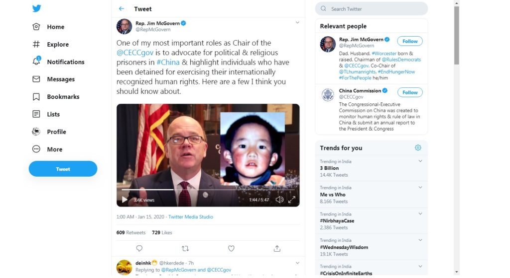美国CECC主席呼吁中共释放藏人和维吾尔人等政治犯