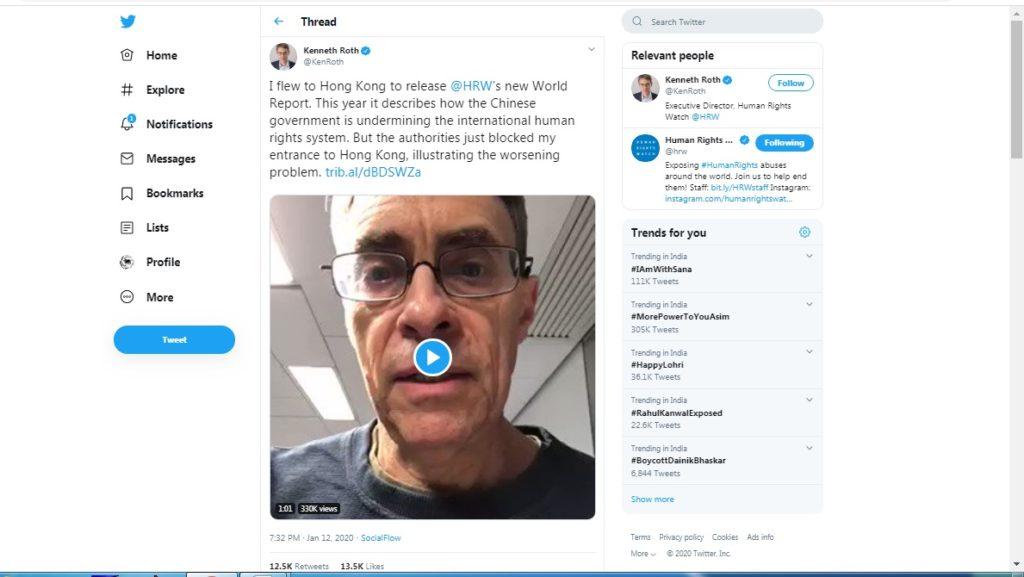 人权观察执行长赴港发布年度《世界人权报告》时被香港禁止入境