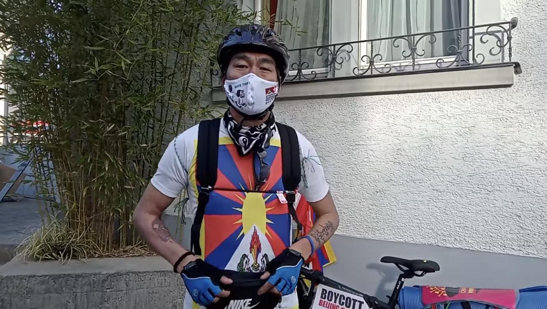 流亡藏人次仁旺堆在瑞士透过单车巡游推介西藏议题