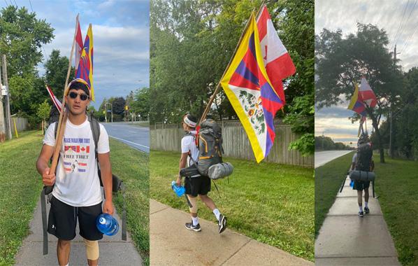 流亡藏人活动人士桑杰嘉再度从多伦多至渥太华展开徒步游行